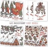 Kerstkaarten - kaartenset - ansichtkaarten - Kerst Doodle - 12 stuks - wenskaarten - kimago.nl