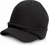 Trendy warme wintermuts met visor klep in het zwart voor volwassenen - Damesmutsen / herenmutsen - 100% polyacryl