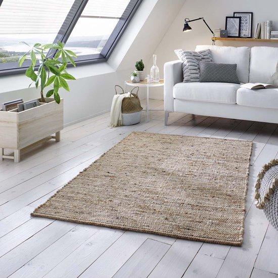 Wollen vloerkleed handweef Oslo - beige/crème 120x170 cm