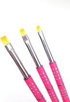 Gelpenseel Roze met zilverkleurige stipjes - Maat 8 - Nylon haar - Voor het gebruik met alle soorten gels voor nagels
