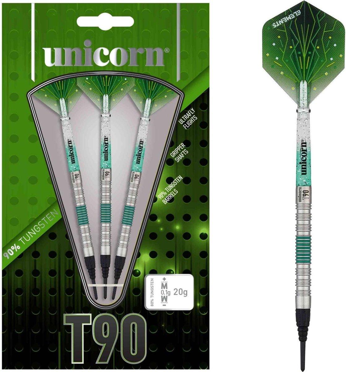 Unicorn Dartpijlen Core Xl T90 Softtip 19g Tungsten Zilver