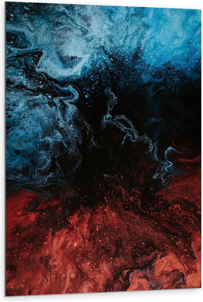 Dibond - Rode Blauwe Glitters op Zwart - 80x120cm Foto op Aluminium (Met Ophangsysteem)