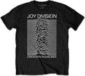 Joy Division Heren Tshirt Unknown Pleasures White On Black Zwart
