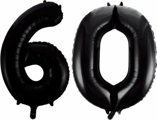 Folieballon 60 jaar zwart 86cm