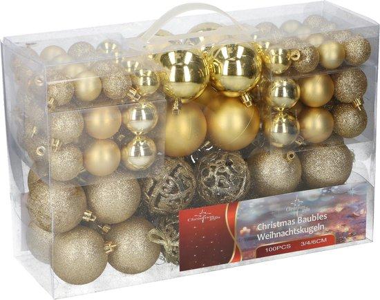 Christmas Gifts kerstballenset - 100 stuks - 3/4/6cm - Plastic