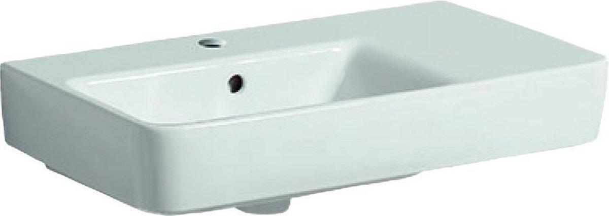 Geberit Renova compact wastafel 65 cm 1 kraangat afleg rechts+overloop, wit