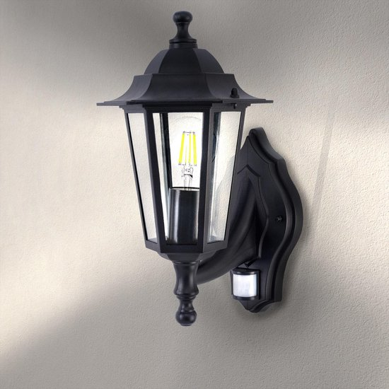 Ledvion Buitenlamp Met Sensor - Zwart Klassiek - E27 Fitting - IP44