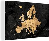 Canvas Schilderijen Kaart - Europa - Goud - 90x60 cm - Wanddecoratie