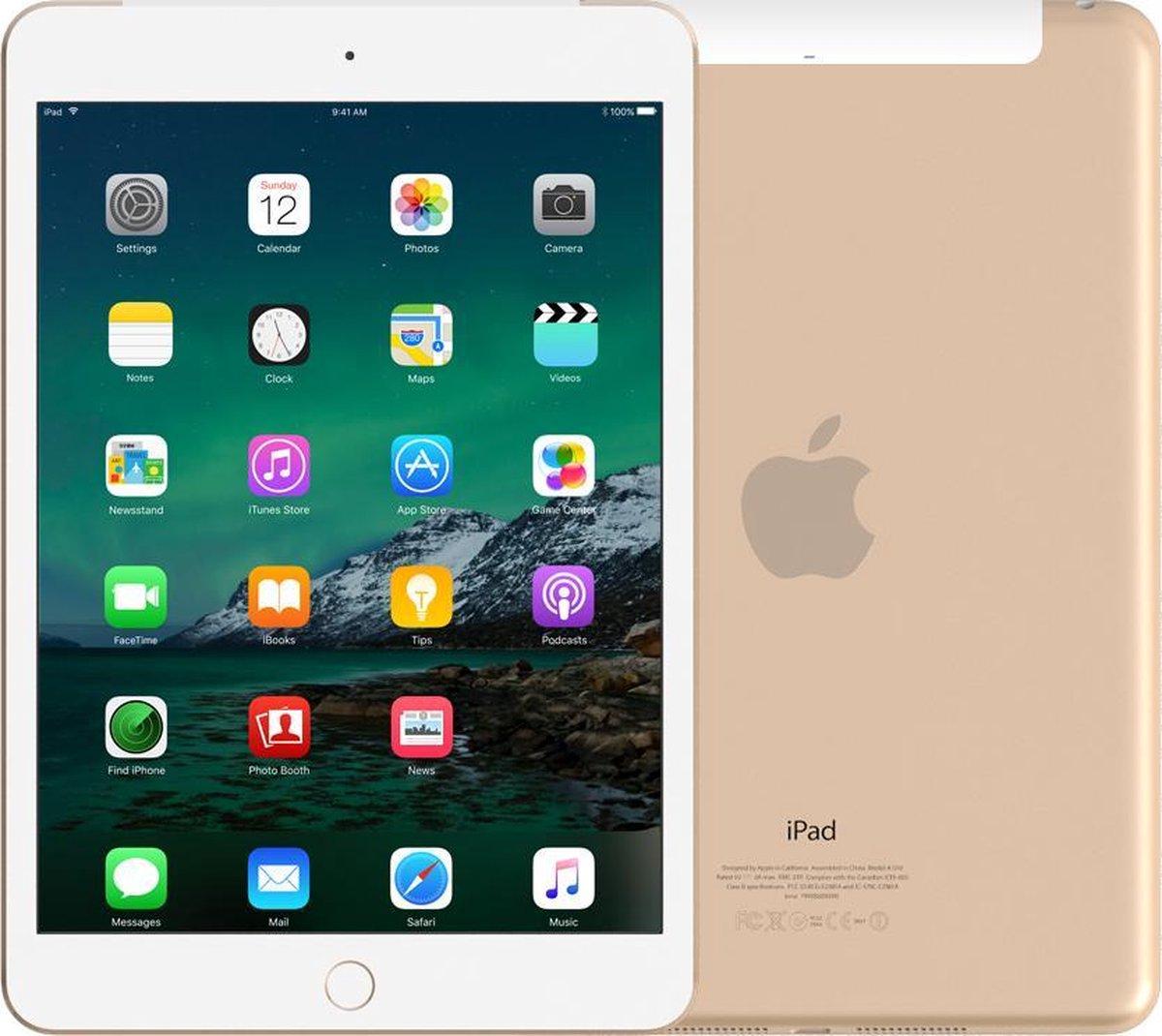 Apple iPad Mini 4   – 7.9 inch – WiFi + 4G – 16 GB – Goud – Refurbished door Leapp – A Grade (zo goed als nieuw)