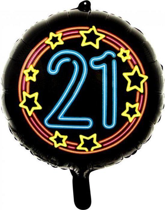 Wefiesta Folieballon 21 Neon 45 Cm Zwart