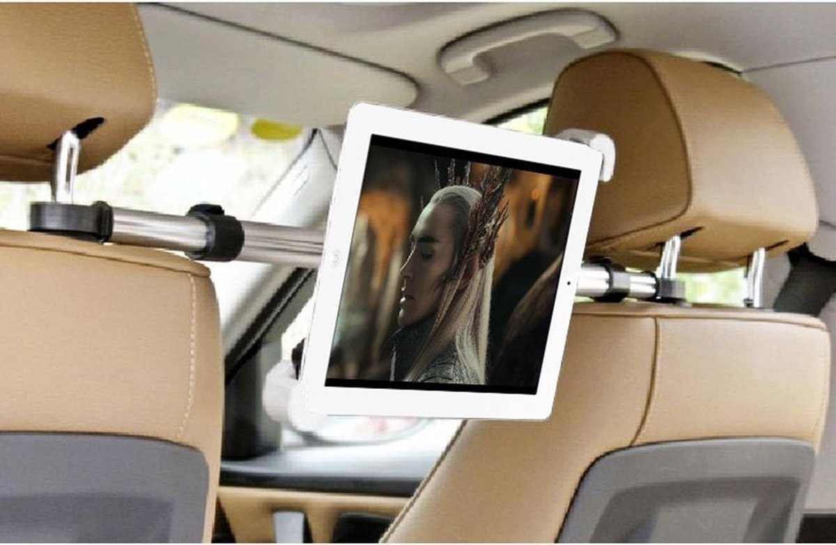 GadgetBay Universele iPad tablethouder voor in de auto hoofdsteunklem - 360 graden draaibaar Alumini
