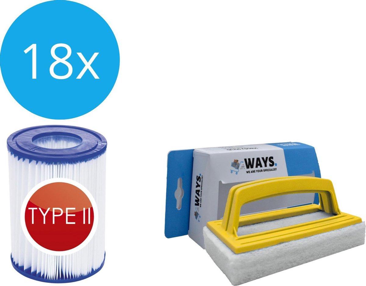 Bestway - Type II filters geschikt voor filterpomp 58383 - 18 stuks & WAYS scrubborstel