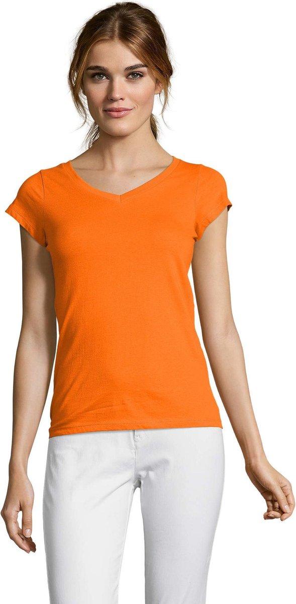 Dames t-shirt  V-hals oranje 42 (XL)