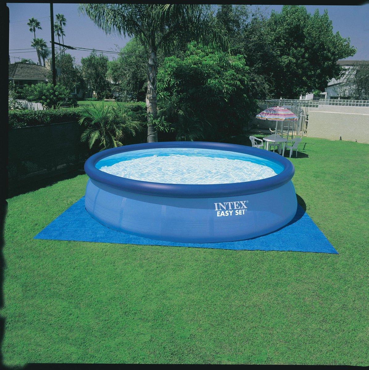 Opblaaszwembad - Intex - Easy Set - Familiezwembadbad - Ø 457 x 84 Cm - Inclusief 12Volt Filterpomp