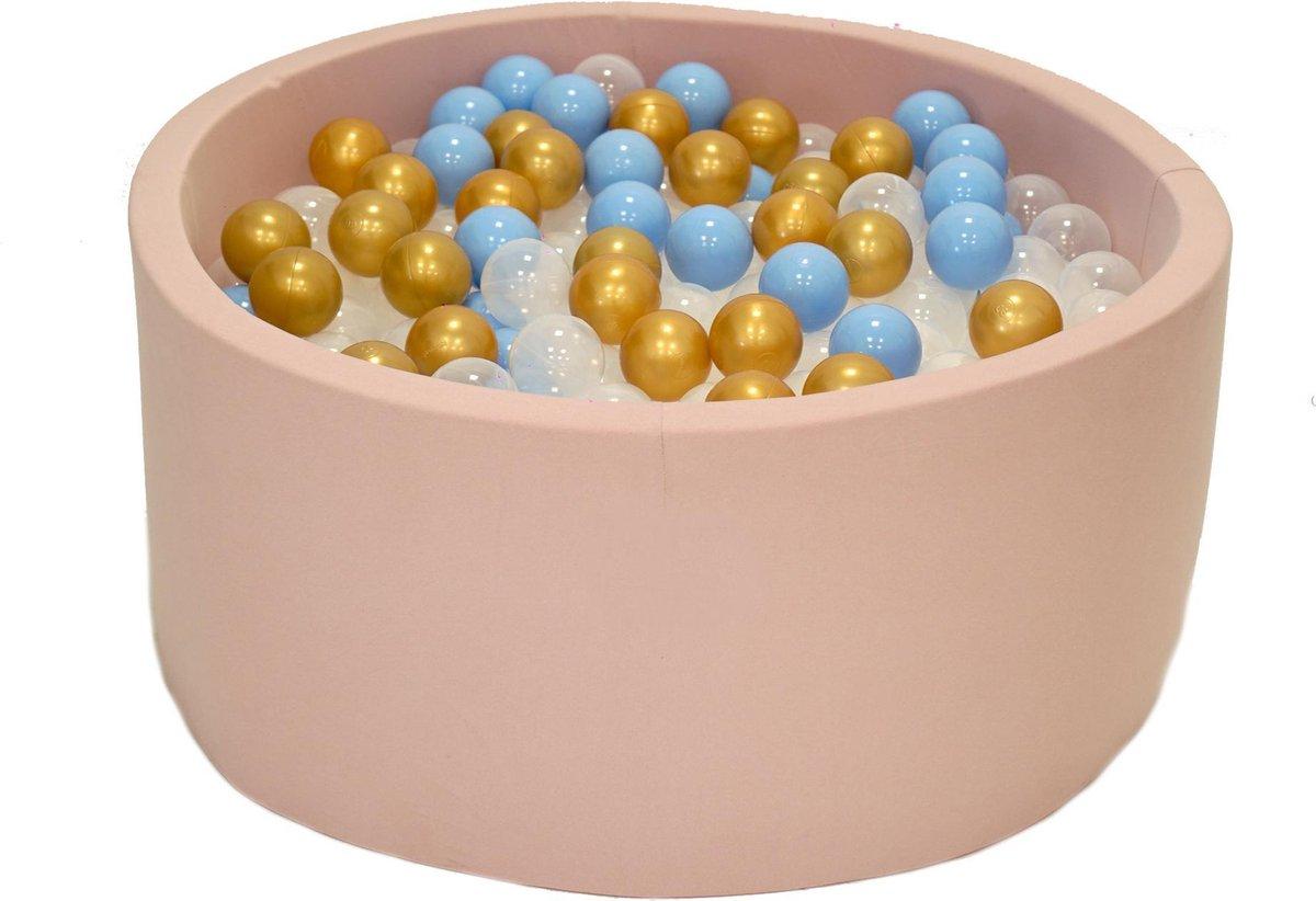 Ballenbak Roze 90x40 met 250 ballen Babyblauw, Transparant, Goud