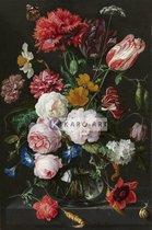 Schilderij - Stilleven met bloemen in een glazen vaas, Jan Davidsz. de Heem