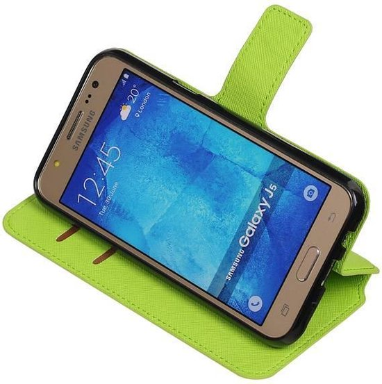 Wicked Narwal | Cross Pattern TPU bookstyle / book case/ wallet case voor Samsung galaxy j5 2015 Groen