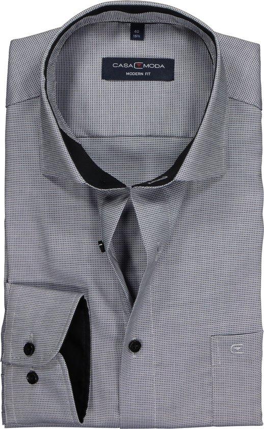 Casa Moda Modern Fit Overhemd - Zwart-grijs Structuur (contrast) Boordmaat 42