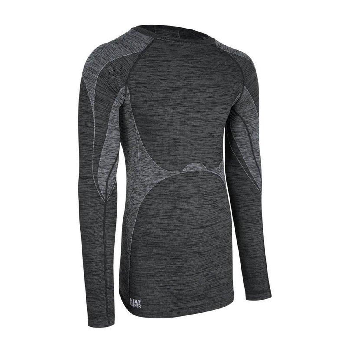 Thermo shirt zwarte melange lange mouw voor heren - Wintersport kleding - Thermokleding M (50)