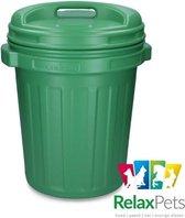 RelaxPets - Voerton - Voer Bewaar Box - Feed Bucket - Draaisluiting - Groen - 40 Liter - 62x47cm - 2 Stuks