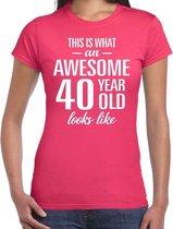 Awesome 40 year / 40 jaar cadeau t-shirt dames
