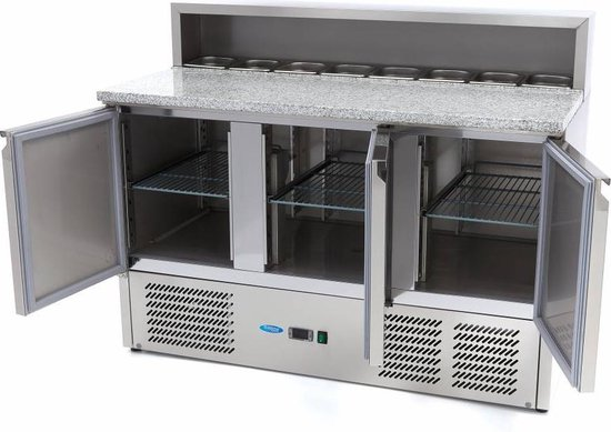 Koelkast: Pizzawerkbank / Pizzatafel / Pizza Saladette - 3 Deuren - RVS, van het merk Maxima