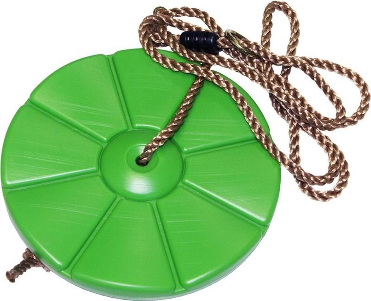 Kinder speeltoestel groene schommeldisk ronde schommel 28 cm - Buitenspeelgoed - Schommelen - Speeltoestel schommeldisc/schijf
