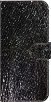 ★★★Made-NL★★★ Handmade Echt Leer Book Case Voor Samsung Galaxy M20 Zwart hoogglans met vierkante vintage print.