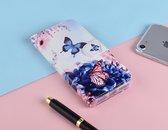 P.C.K. Hoesje/Boekhoesje luxe blauw met vlinder print geschikt voor Samsung Galaxy A40 MET Glasfolie