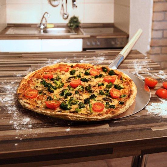 relaxdays pizzaschep rond aluminium, pizzaspatel, broodschep hout, pizza schep
