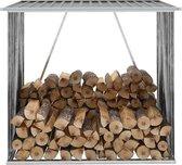 Haardhoutschuur 163x83x154 cm gegalvaniseerd staal grijs (incl. Werkhandschoenen)