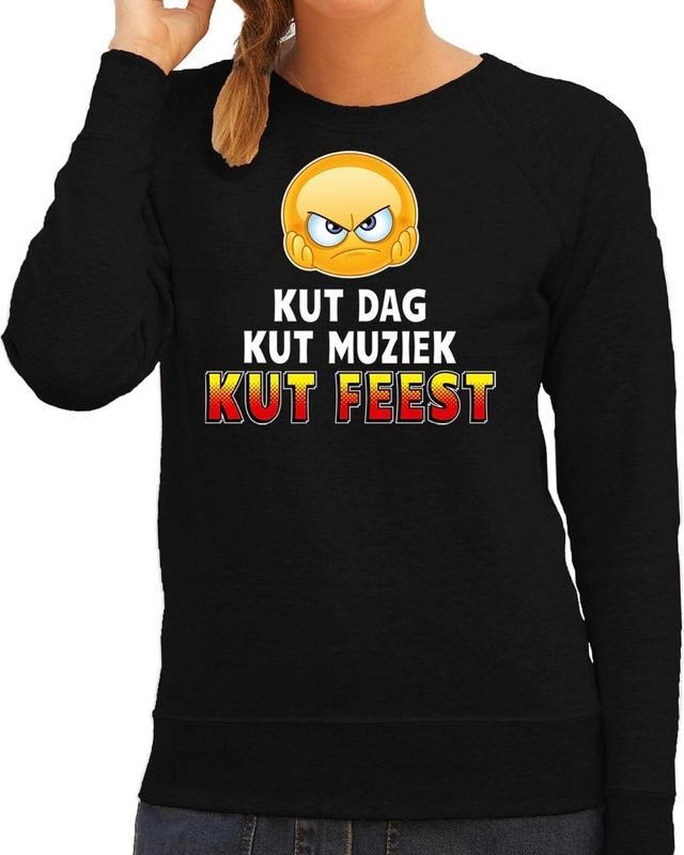Funny emoticon sweater Kut dag kut muziek kut feest zwart dames XL