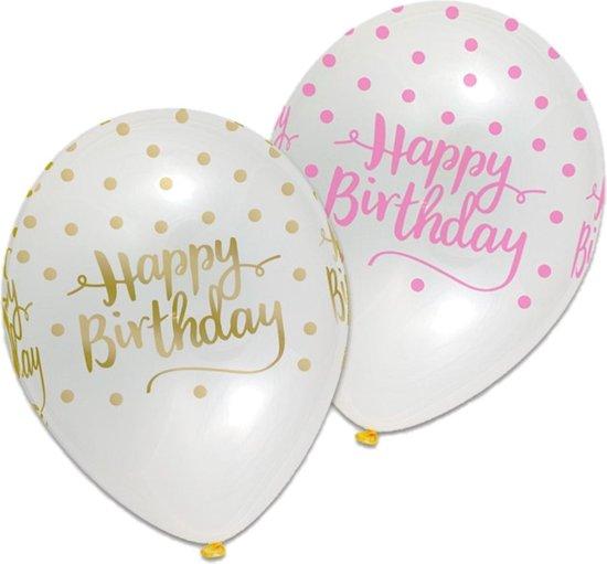 Ballonnen - Pink chic - Happy Birthday - 6st.