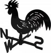 Windhaan / windwijzer zwart metaal 39 x 32 x 4,5 cm - windrichtingaanwijzer / windrichtingwijzer