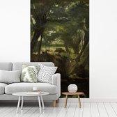 Bosgezicht - Schilderij van George Hendrik Breitner fotobehang vinyl breedte 205 cm x hoogte 360 cm - Foto print op behang (in 7 formaten beschikbaar)