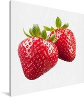 Aardbeien naast elkaar Canvas 50x50 cm - Foto print op Canvas schilderij (Wanddecoratie woonkamer / slaapkamer)