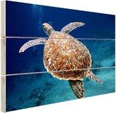 Zeeschildpad  Hout 30x20 cm - klein - Foto print op Hout (Wanddecoratie)