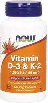 Now Foods - Vitamine D3 &K2 - 120 Vegicaps