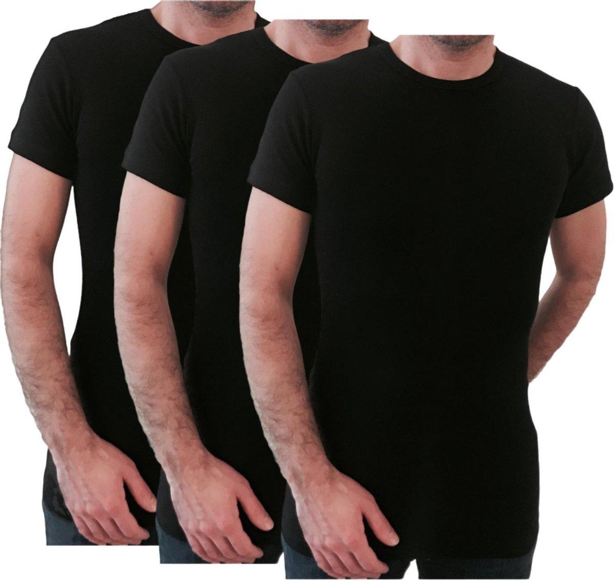 3 Pack Top kwaliteit  T-Shirt - O hals - 100% Katoen - Zwart - Maat L