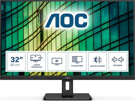 "AOC Essential-line U32E2N LED display 80 cm (31.5"") 3840 x 2160 Pixels 4K Ultra HD Zwart"