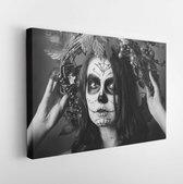 Black and white portrait of sugar skull with wreath on head. Pretty model posing on camera. Woman has beauty make up  - Modern Art Canvas  - Horizontal - 722663590 - 40*30 Horizontal