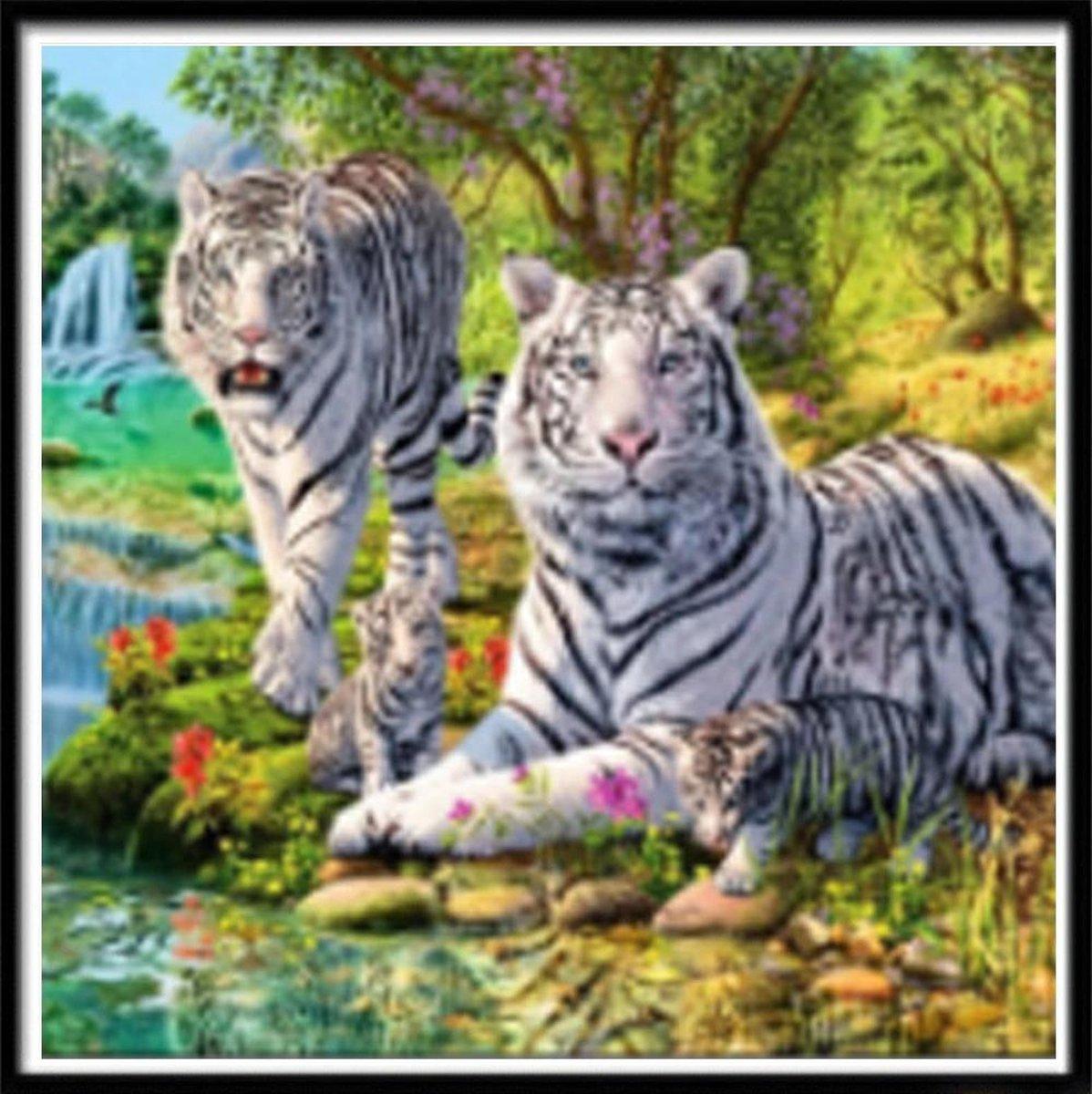 Premium Paintings - Twee Witte Tijgers - Diamond Painting Volwassenen - Pakket Volledig / Pakket Full - 40x40 cm - Moederdag cadeautje