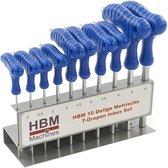 HBM 10 Delige Metrische T-Grepen Inbus Set