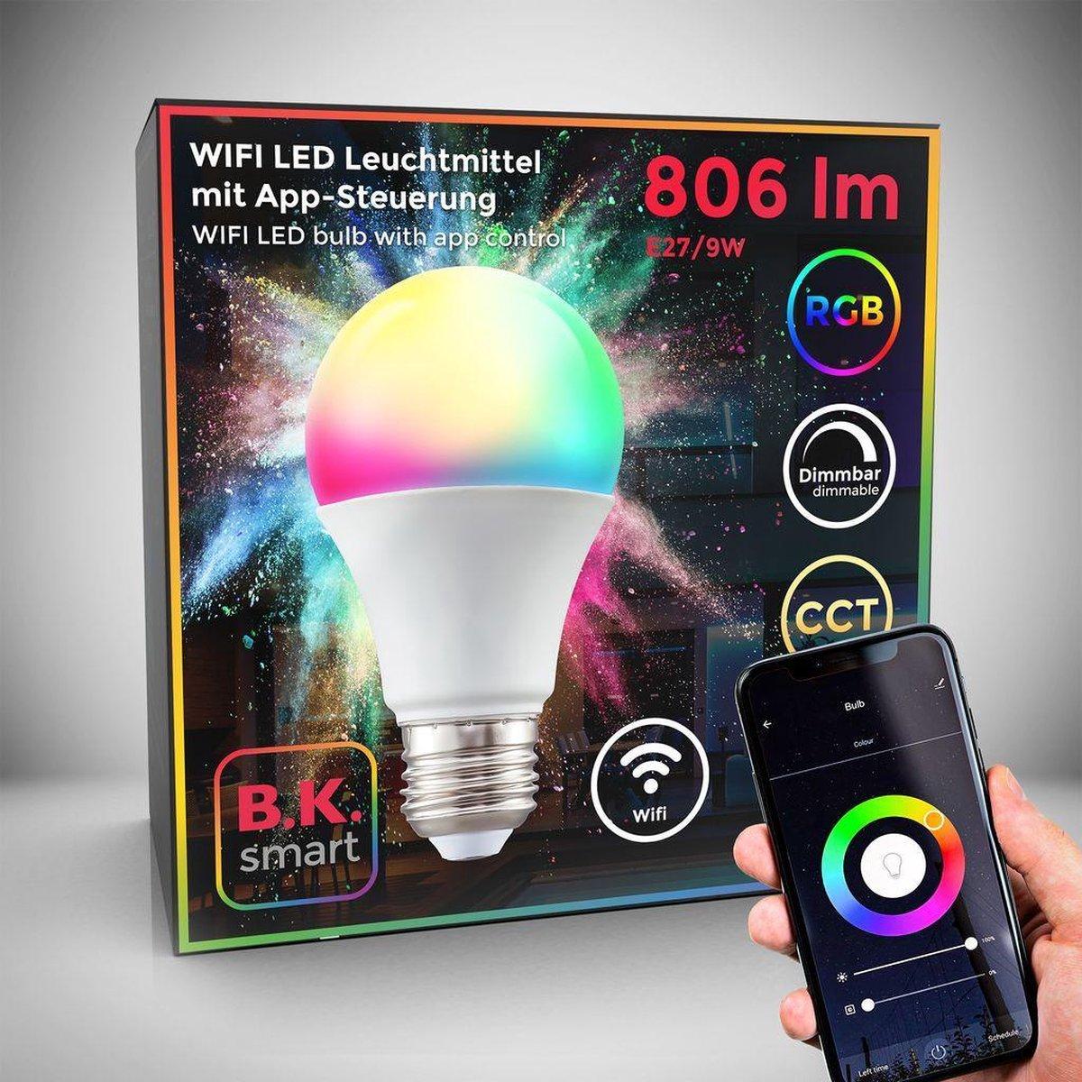 B.K.Licht - Slimme Lichtbron - RGB en CCT - smart lamp - met E27 - 9W LED - WiFi - App - 2.700K to 6.500K - 806 Lm - voice control - color lampjes - LED lamp