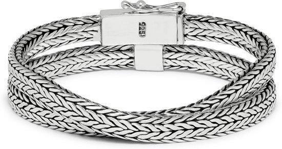 SILK Jewellery - Zilveren Wikkelarmband - Alpha - 356.21 - Maat 21