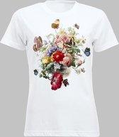 T-shirt V Bloemen en vlinders - Wit - M