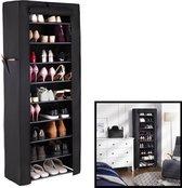Decopatent® XL Schoenenrek - Voor 27 paar schoenen - Met hoes - Organizer voor schoenen - Staand opbergrek - Schoenenkast - Zwart