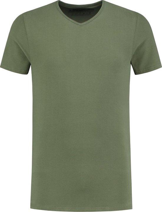 ShirtsofCotton Heren T-shirt Donkergroen Basic V-hals - L