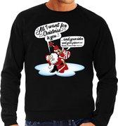 Grote maten foute Kersttrui / sweater - Zingende kerstman met gitaar / All I Want For Christmas - zwart voor heren - kerstkleding / kerst outfit 3XL (58)