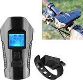 350LM USB Charging Waterproof Snap-on Bicycle Headlight with Speaker & Stopwatch Function (Black)